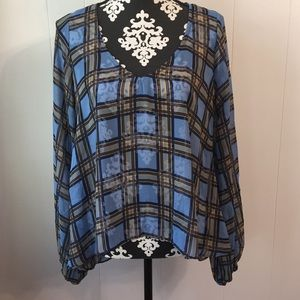 Show Me Your MuMu Sheer Plaid Long Sleeve Top